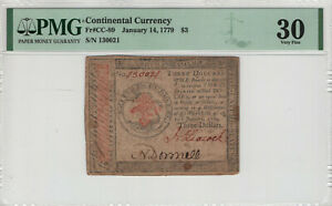 JANUARY 14 1779 CONTINENTAL CURRENCY NOTE CC-89 $3 PMG VERY FINE VF 30 (035)
