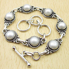 "Retro Fashion Accessories ""Bracelet"" 925 Silver Plated ROUND PEARL 8 Inch"