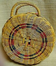 Beautiful & Intricate Small Round Lidded Basket w/ Double Handles< 00004000 /a>