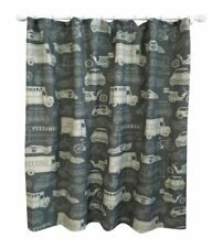 "Pillowfort Gray Two-Tone Traffic Vehicles Fabric Shower Curtain 72"" X 72"""
