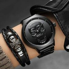 BIDEN Unique Skull Dial Men Waterproof Stainless Steel Quartz Wrist Watch