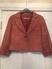 Kew Short Jacket Orange Rust Beige Mix Viscose Silk Linen Blend size 8