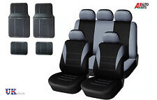 GREY CAR SEAT COVERS & RUBBER CAR MATS SET FOR LANDROVER DISCOVERY 3 00-09