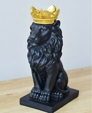 Nordic Resin Gold Crown Lion Statue Handicraft Sculpture Home Room Decoration