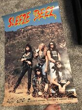 ORIGINAL 1990 Sleeze Beez Promo Poster Screwed Blued & Tatooed