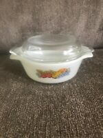 Vintage Anchor Hocking 472 Petite Casserole Dish Reversible Stack Lid Fire King