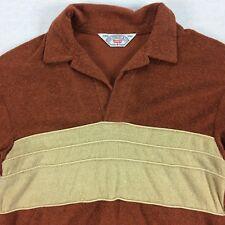 Vintage 70s 80s LEVIS VNeck Long Sleeve Shirt Mens Sz SMALL S Brown Beige Henley