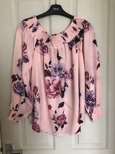 Gorgeous Pink Floral Bardot Blouse - Mela London Size 12