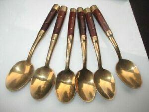 TEAK HANDLES 6 GOLDEN BRONZE DEMITASSE ESPRESSO COFFEE / TEA SPOONS