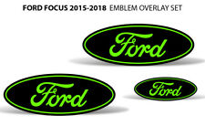 Oval Badge Emblem Logo Overlay Sticker Decals For Ford Focus 2015-2018 GREEN BLK