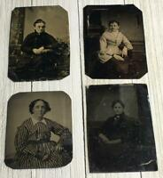 Vintage Lot Of 4 TinType Photographs Women