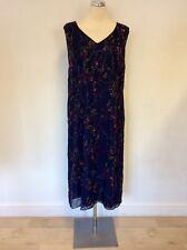 MARINA RINALDI NAVY BLUE SILK BEAD & SEQUIN FLORAL DESIGN DRESS SIZE 19 UK 14/16