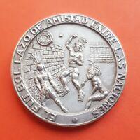 MEXICO 1970 SILVER MEDAL Soccer FIFA World Cup IX FUTBOL LAZO DE AMISTAD medalla