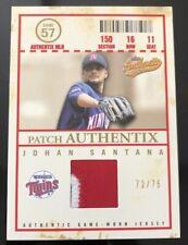 2005 Fleer Authentix JOHAN SANTANA Patch Authentix Game Used #d 72/75!