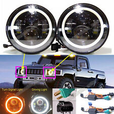 For Hummer H3 H3T H2 H1 LED Halo Angel Eyes DRL Headlight H4-H13 Hi/Lo Beam Lamp