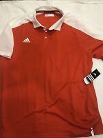 NEW Men's ADIDAS Golf Polo Shirt Sz XXL 2XL Retail $60. Orange And White