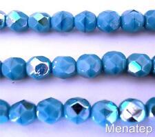 25 6mm Czech Glass Firepolish Beads: Sleeping Beauty Turquoise AB