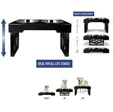 Pet Zone Designer Diner ADJUSTABLE Elevated Dog Bowls - Adjusts To 3 level Black