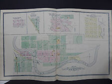 Michigan, Antique Map, 1889, Genesee County Map Double Page, Village of Flushing