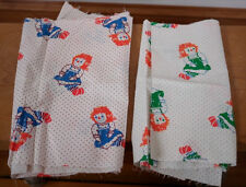 "2 Vintage 70s Raggedy ANN Feedsack Cutter Quilting Fabric Pieces 10"" x 44"" 1.2y"