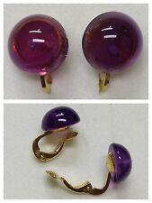 Clips De Oreja Pendientes con piedra color púrpura 333 Oro Amatista