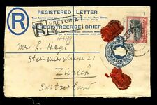 SOUTH AFRICA 1929 REGISTERED STATIONERY KG5 4d + 3d to SWITZERLAND