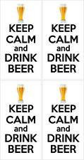 Restez calme et boire de la Bière-Alcool themed x 4 autocollants en vinyle - 14 cm x 9cm