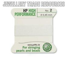 HP HIGH PERFORMANCE WHITE SILKY THREAD 0.45mm STRINGING PEARLS BEADS GRIFFIN 2