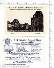 5359 J. D. Stiefel Soap 1900 trade card Schering Glatz, Nyc Paris, France Louvre