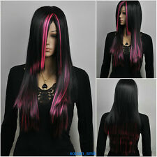 New Pink /Black Mix Straight Long Lolita Cosplay Wig + Hairnet  H149