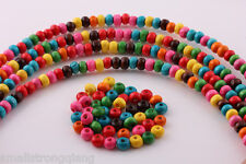 500 Pcs Mixed color Wood Spacer loose flat beads Necklace charms findings 6x4mm