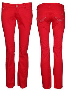 Womens Cotton Low Rise Straight Leg Trousers Ladies Jeans Pants Bottom Size 6-12