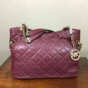 Michael Kors Susannah Quilted Leather Medium Zip Shoulder Tote Claret Red Gold