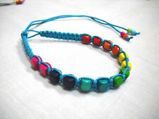 TURQUOISE BLUE MACRAME w RAINBOW WOOD BEADS BLUE GREEN PINK TIE BRACELET ANKLET