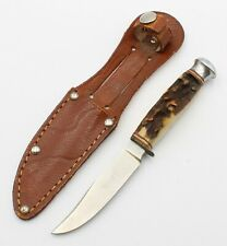 SOLINGEN GIESSEN CARVED STAG HANDLE HUNTING KNIFE GERMAN WITH SHEATH - #8151-10