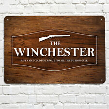 The Winchester Bar Pub Home bar sign Wood effect Large A4 Metal Sign wall sign