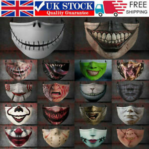Face fashion Reusable scary funny mask horror covers Halloween face Washable UK