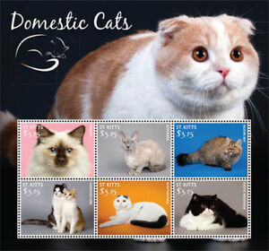 SAINT KITTS 2015 - DOMESTIC CATS SHEET OF 6 STAMPS MNH
