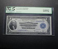 1918 $1 Philadelphia Federal Reserve Note Fr.715 PCGS 64 PPQ (20121)
