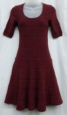 MOSSIMO XL Burgundy Short Sleeve Scoop Neck A line Striped Sweater Dress