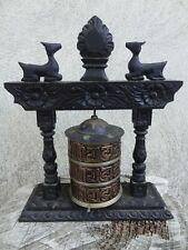 ancien moulin à prière bois noirci et cuivre Tibet Népal XX