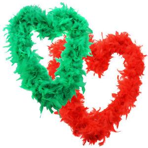 RED & GREEN FEATHER BOA XMAS FESTIVE JOY CHRISTMAS XMAS FANCY DRESS ACCESSORY