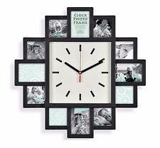 Noir Horloge Murale Cadre Photo Détient 12 photos moderne Home Decor Galerie Collage