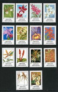 Grenada Grenadines Scott #1256-1269 MNH Flora/Flowers Orchids CV$55+