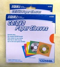 Quill CD/DVD Paper Sleeves with Clear Window  Assorted Colors  50/Pack 12256QL
