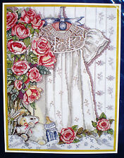 "Bucilla ""Christening Gown"" and Roses Counted Cross Stitch Kit"
