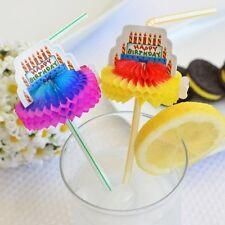"Set of 8 Happy Birthday Cake Honeycomb Flexible Drinking Straws 9.5"""