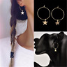 Boho Retro Popular Simple Large Circle Star Hoop Earrings Women Jewelry Newly