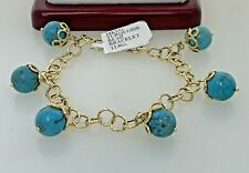 """ITAOR Turquoise Beads Bangle Bracelet In 18k Solid Yellow Gold 7.75""""Adjustable"""