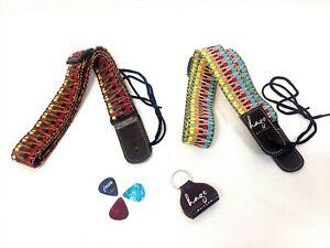 Haze Ukulele Strap Weaving Style Cotton Ukulele Adjustable W Pick Holder,Picks